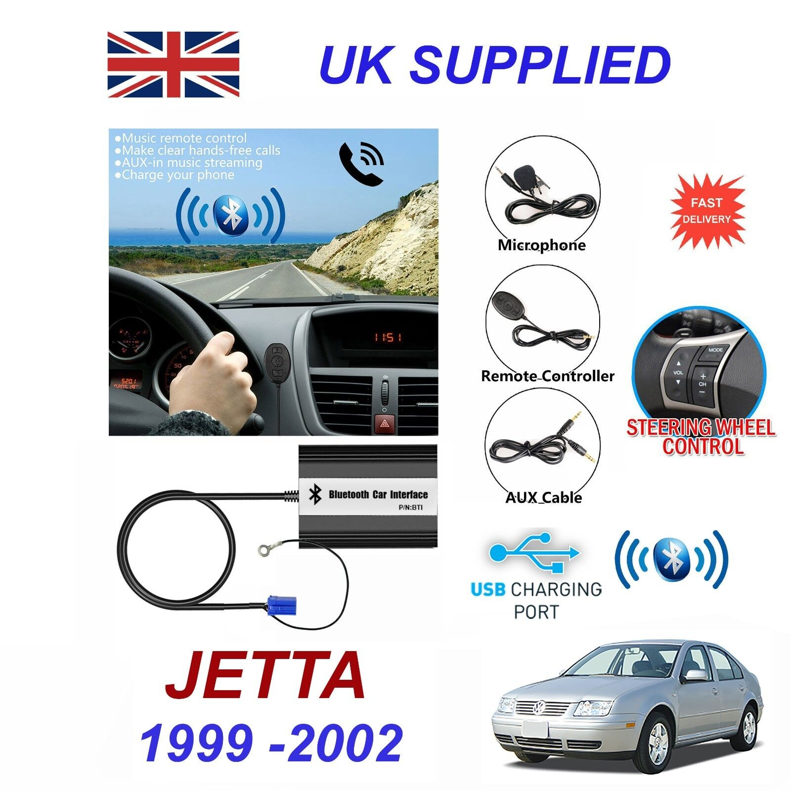 For VW JETTA Bluetooth Hands Free Phone AUX Input MP3 1.0A USB Charger Module 8P