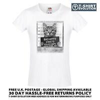 Bad Gatito Camiseta Para Dama 100% Algodón Divertido Gato Lindo Animal Mascota -  - ebay.es