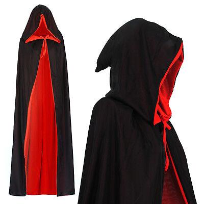 Vampir Umhang Wendeumhang mit Kapuze Cape schwarz rot Mantel 130cm lang - Kostüm Mit Rotem Mantel