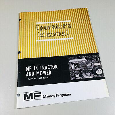 Massey Ferguson Mf 14 Lawn Garden Tractor Mower Operators Owners Manual