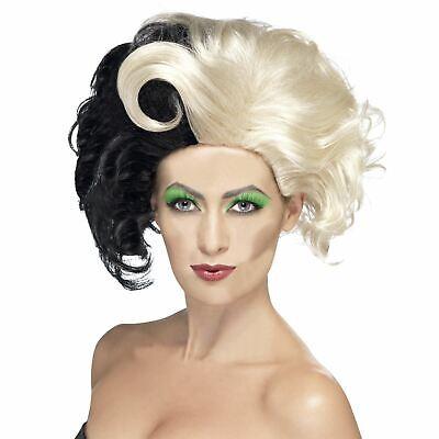 Deluxe Cruella De Ville Wig Evil Madame Zombie Ladies 101 Dalmatians Fancy Dress