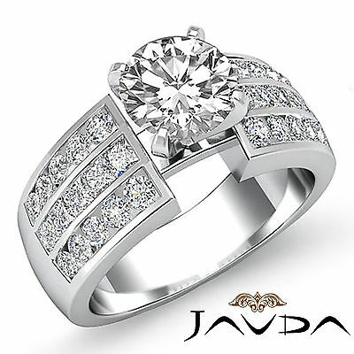 3 Row Channel Set Round Natural Diamond Engagement Ring GIA Certified G SI1 2Ct 1