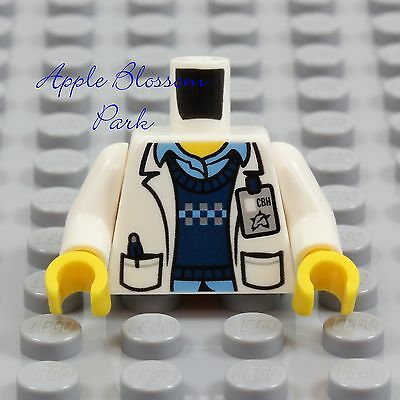 LEGO Male DOCTOR SCIENTIST MINIFIG TORSO Hospital White Blue Shirt Lab Coat Tech for sale  Shipping to India