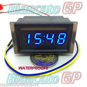 Orologio Waterproof Pannello LED Blu Auto Moto Nautica Fuoristrada Incasso Barca  eBay