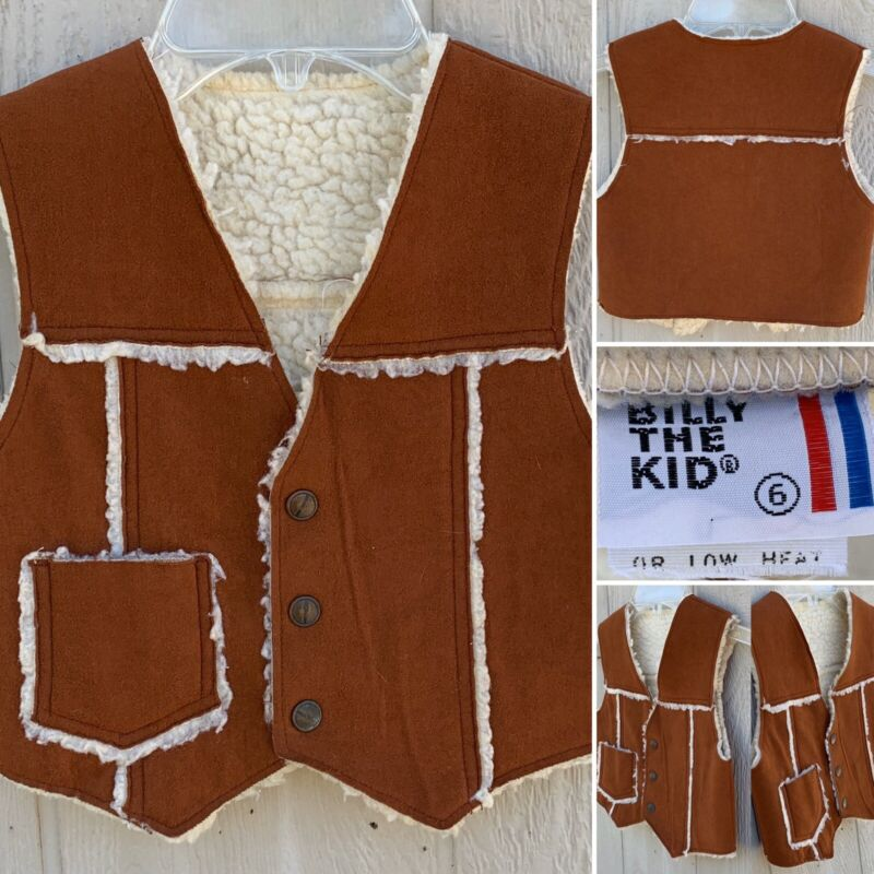 Vintage Billy The Kid Vest Snap Front Faux Sherpa Suede Western Hippy 6 Cowboy