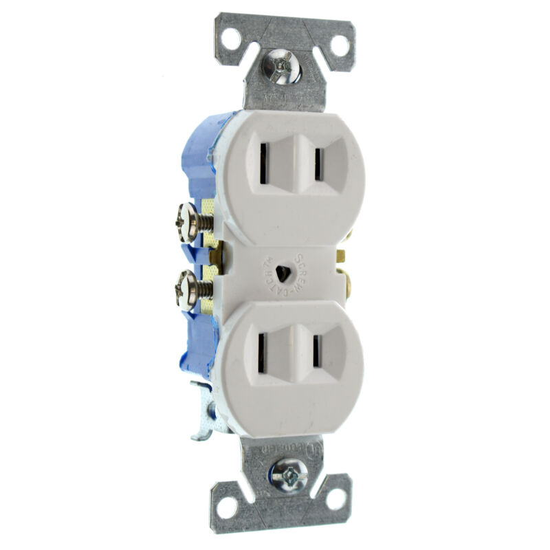 EATON COOPER 736W-SP-L RECETPACLE OUTLET, NON-GROUNDING, 2-WIRE, 15A 120V, WHITE