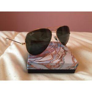 Ray Ban Aviator Gold Framed, Black Lens Sunglasses New
