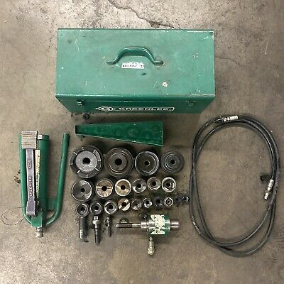 Greenlee 7310 Hydraulic Knockout 12- 4 Conduit Punch Set 1725 Pump W 20 Dies