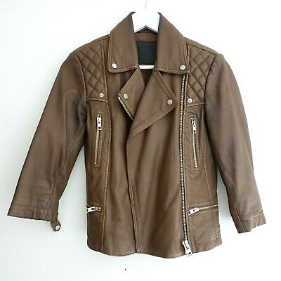 All Saints Cropped Cargo Biker Leather Jacket Brown Size 6 Women Limited Edition