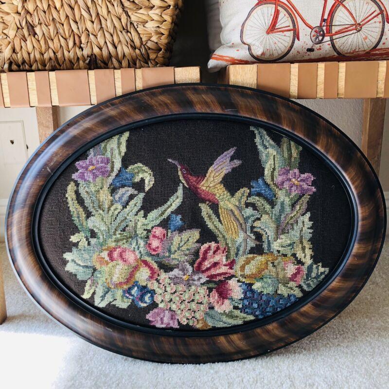 """Vintage Framed Needlepoint Floral Hummingbird 23.5"""" Hand Finished Large Oval Art"""