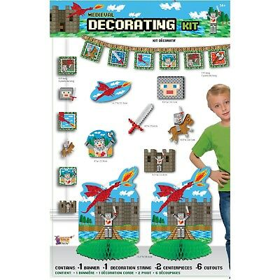 MEDIEVAL PIXEL Banner Wall Cutouts Party Decorations Wall Knights Mining Table](Banner Medieval)