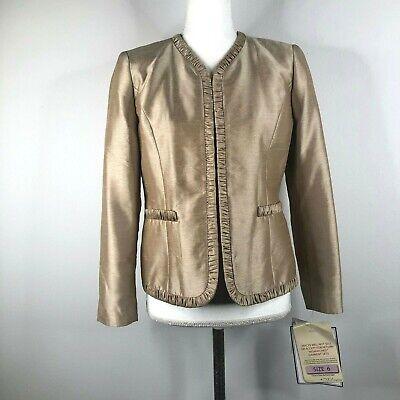 Kasper Womens 6P Petite Refractive Gold Open Front Textured Blazer Jacket NWT