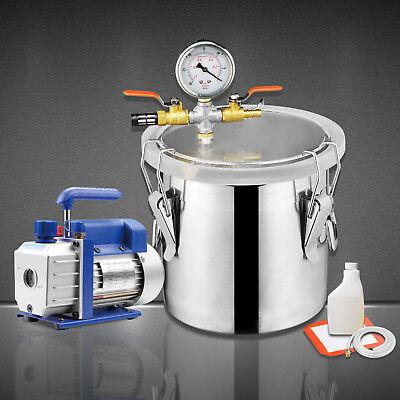 5 Gallon Vacuum Chamber 3 Cfm Single Stage Pump Degassing Silicone Kit