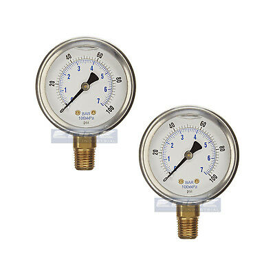 2 Pack Liquid Filled Pressure Gauge 0-100 Psi 2.5 Face 14 Npt Lower Mount
