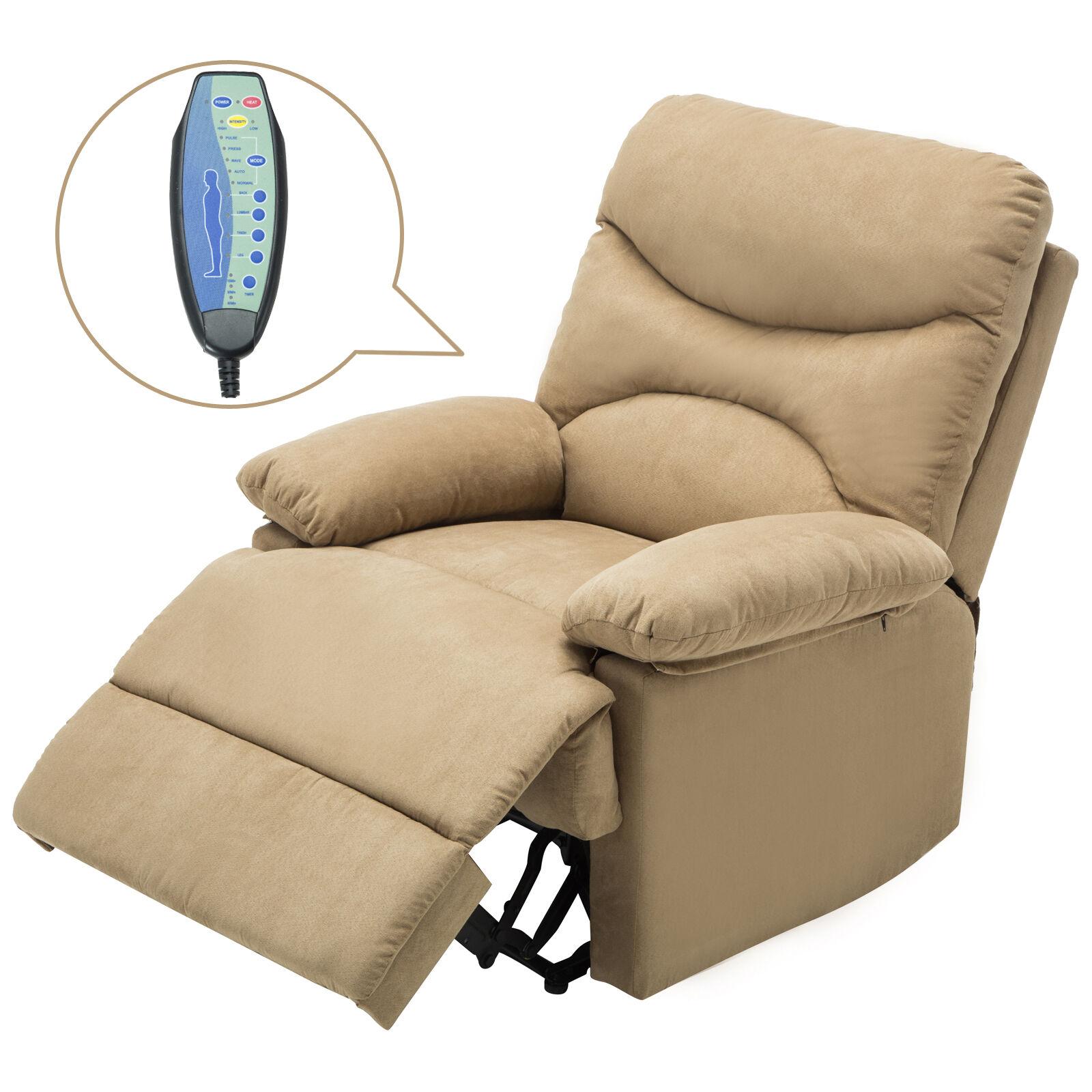Massage Recliner Sofa Chair Ergonomic Lounge Microfiber Swivel Heated  W/Control