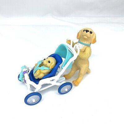Barbie Posh Pets Golden Retriever Dog Pushing Puppy in Stroller Retired 2003