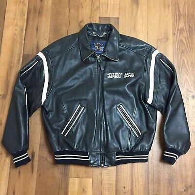 Vintage Guess USA Legendary Classics Black Leather Varsity Jacket Mens Medium