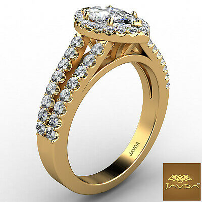 Halo French U Pave Marquise Cut Diamond Engagement Ring GIA Color E VVS2 1.96Ct 5