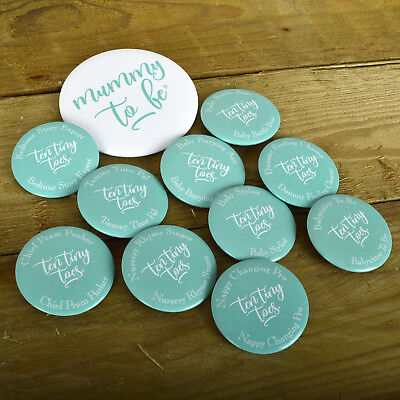 BABY SHOWER BADGES - TEN TINY TOES Gender Neutral Baby Shower Baby Shower Badges - Gender Neutral Baby Shower Decorations