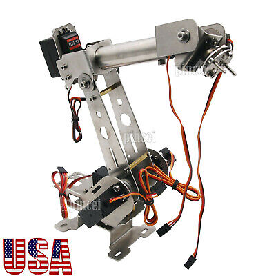 6dof Mechanical Robotic Arm Clamp With Servos Diy Kit For Arduino Unassembled Us