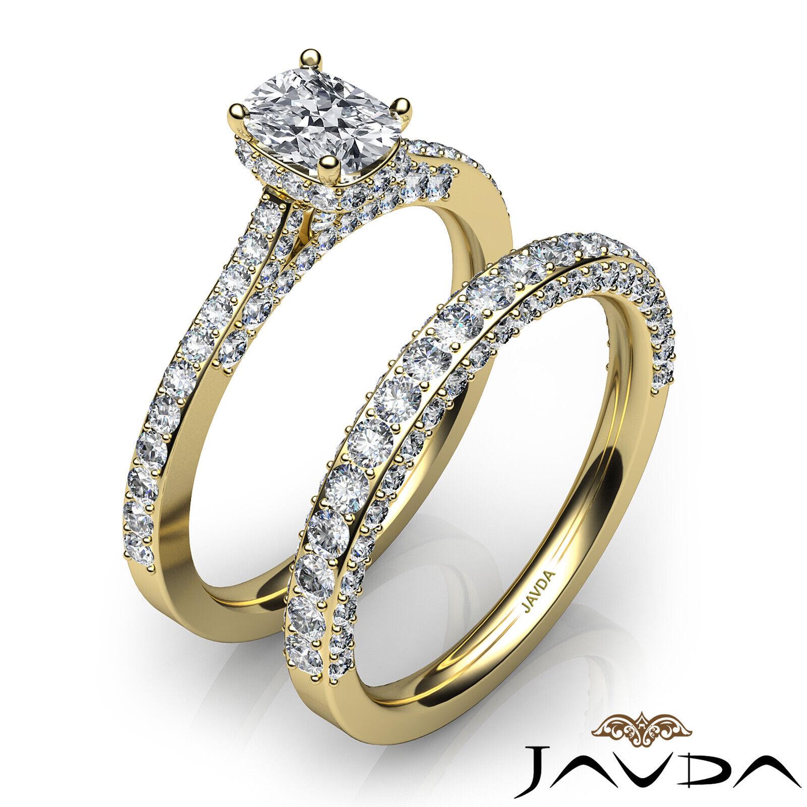 2.85ctw Pave Circa Halo Bridal Cushion Diamond Engagement Ring GIA F-VS1 W Gold 9