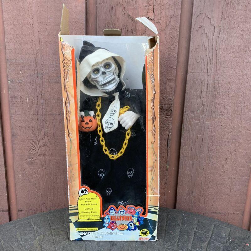 1993 Halloween Skeleton Grim Reaper Motionette Holiday Creations Lights Sounds