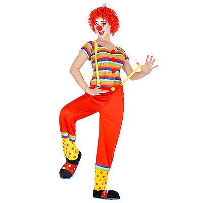Frauenkostüm Clown + Perücke Clownfrau Clownkostüm Harlekin Fasching Karneval