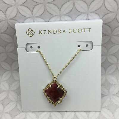 NWT Kendra Scott Kacey Adjustable Pendant Necklace Gold Red Bordeaux Tigers Eye Red Golden Tigers Eye