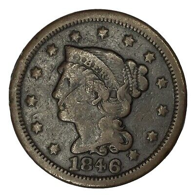 1846 1C Braided Hair Large Cent VG Uncertified #