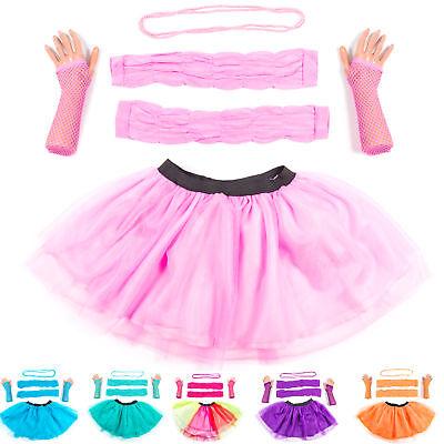 Neon UV Tutu Set Skirt Gloves Leg Warmers Beads Womens 80s Fancy Dress - Neon Tutu