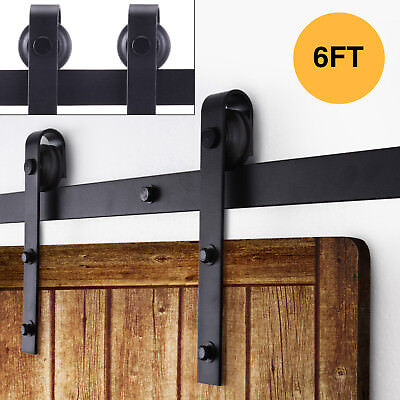 6FT Antique Country Style Steel Sliding Barn Wood Door Closet Hardware Black
