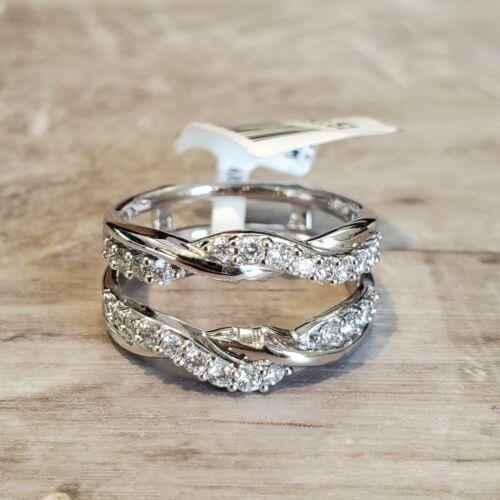 14k White Gold Wrap 1/2ctw Diamond Twist Wrap Enhancer Ring size 6.5
