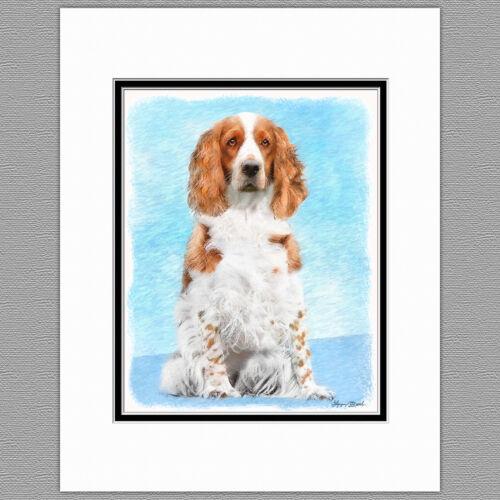 Welsh Springer Spaniel Dog Original Art Print 8x10 Matted to 11x14