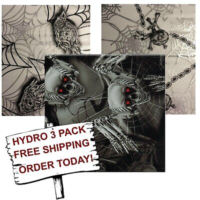 Hydrographic Water Transfer Hydro Dip Film Spider Skulls 3 Pack