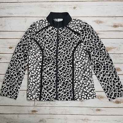 Zenergy Chicos Black White Geo Animal Print Full Zip Stretch Jacket Size 1