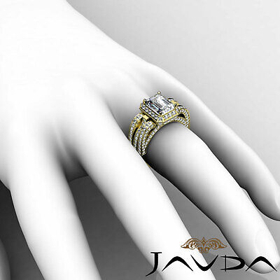 3 Row Shank Radiant Diamond Engagement Pave Ring GIA G Color SI1 Clarity 2.7 Ct 11