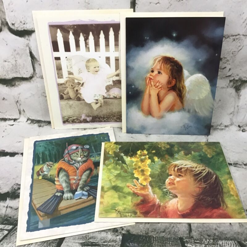 Leanin' Tree Assorted Greeting Cards Lot Of 4 W/Envelopes Scuba Kitty Friendship