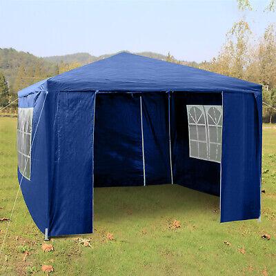 Heavy Duty Gazebo Marquee Canopy Waterproof Garden Party Tent w/Sides Blue 3Mx3M