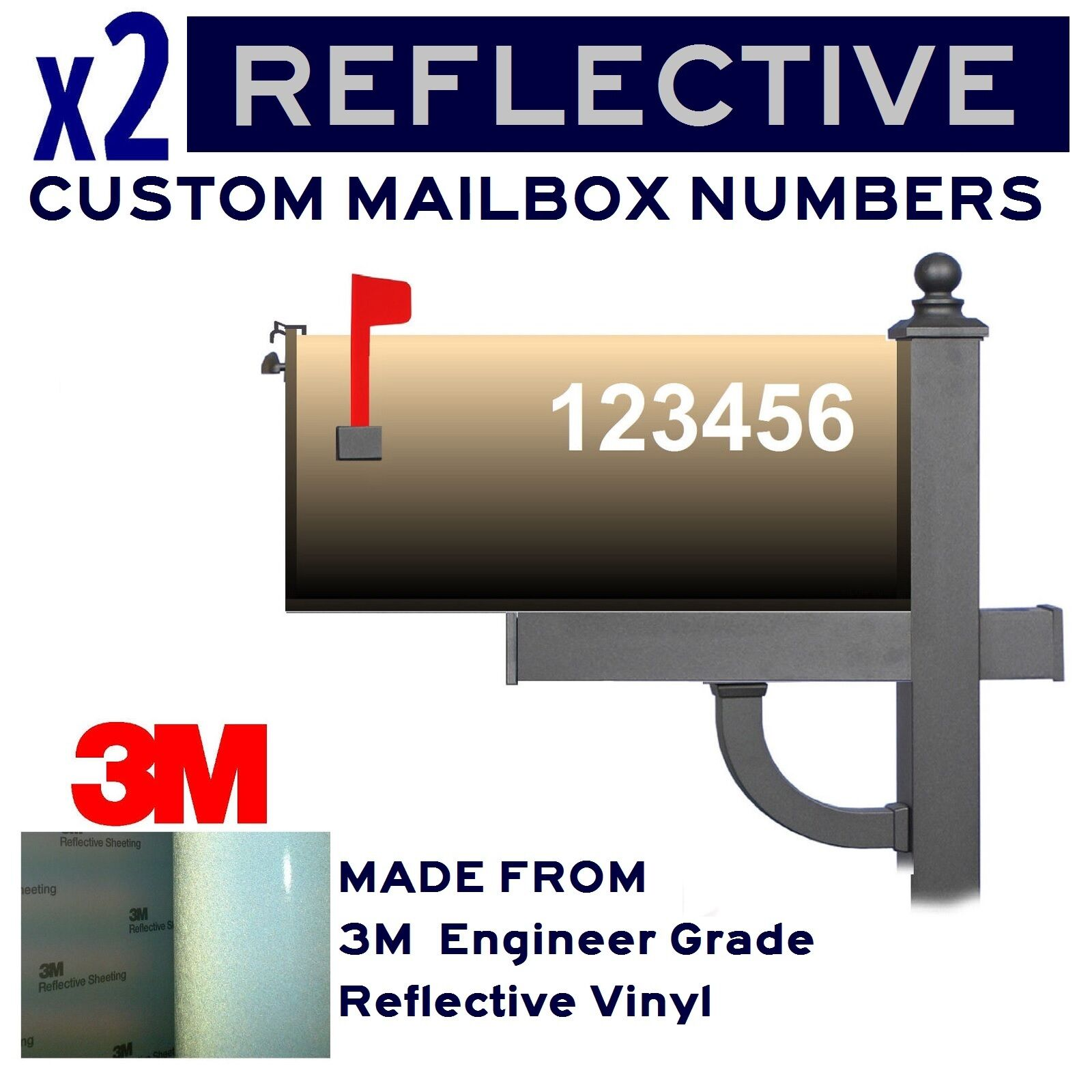 Details about lot of 2 3m reflective 1 5 2 2 5 3 mailbox custom numbers decals stickers