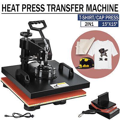 15x15 2in1 Combo Heat Press Transfer Machine T-shirt Cap Hat Sublimation Us