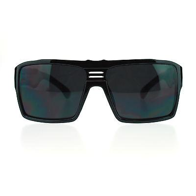 Futuristic Mens Oversized Rectangular Sport Thick Plastic Gangster (Oversized Rectangular Sunglasses)