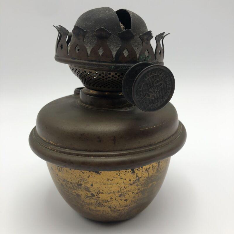 "EARLY ""W&S"" LITTLE GIANT OIL KEROSENE Copper Lamp Burner Double Knob 1878 6.5""T"