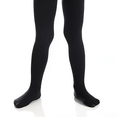 Girls Opaque Tights Solid Seamless Uniform Pantyhose Black White Navy Ivory  - Girls Black Opaque Tights
