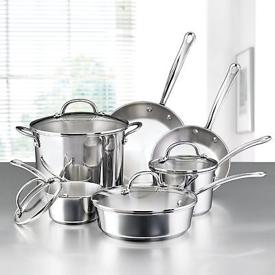 10-Piece Stainless Steel Induction Cookware Set Best Kitchen Pots And Pans