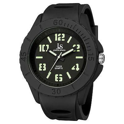 Men's Joshua & Sons JS-37-BK Luminous Hands Swiss Quartz Silicone Strap Watch