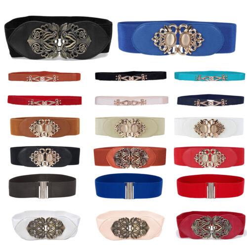 Women Elastic Waist Cinch Wide Belt Clasp Buckle Fashion Stretch Dress Waistband Belts