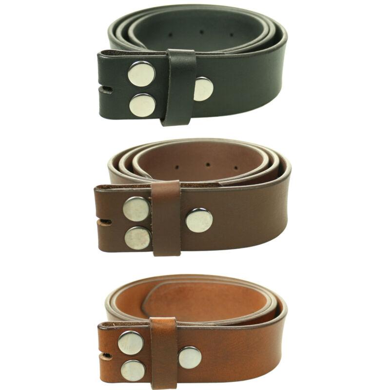 Milano Mens Full Grain Leather Black Brown Tan No Buckle Belt Press Stud 40mm