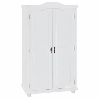 Garderobenschrank Dielenschrank Kleider Kiefer massiv weiß 2türig 2 Türen