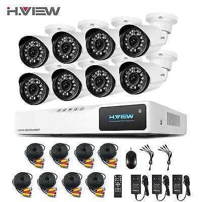 H.View Überwachungssystem 8CH 1080N CCTV DVR Videoüberwachung 8 X 2000TVL Kamera