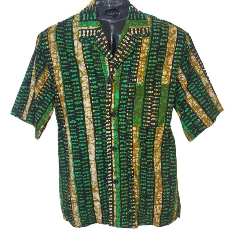 African Print Men Green with Gold Collar Shirt